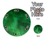 Ombre Green Abstract Forest Playing Cards 54 (Round)  Front - Club5