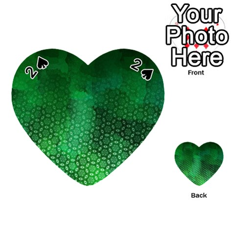 Ombre Green Abstract Forest Playing Cards 54 (Heart)