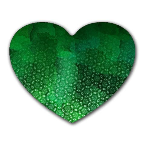 Ombre Green Abstract Forest Heart Mousepads