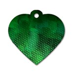 Ombre Green Abstract Forest Dog Tag Heart (One Side) Front