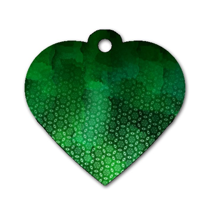Ombre Green Abstract Forest Dog Tag Heart (Two Sides)