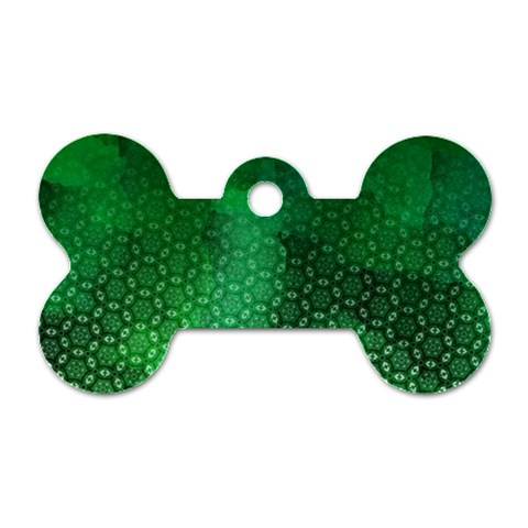 Ombre Green Abstract Forest Dog Tag Bone (Two Sides)