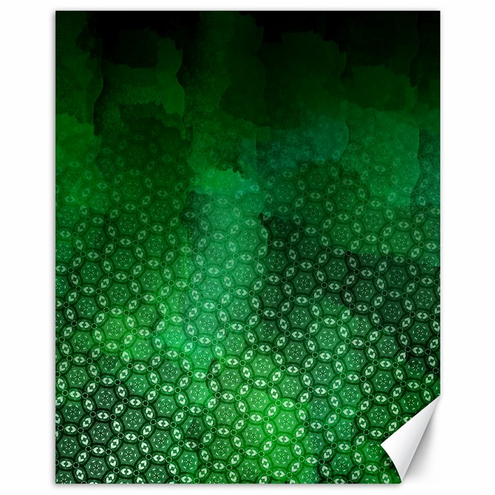 Ombre Green Abstract Forest Canvas 11  x 14