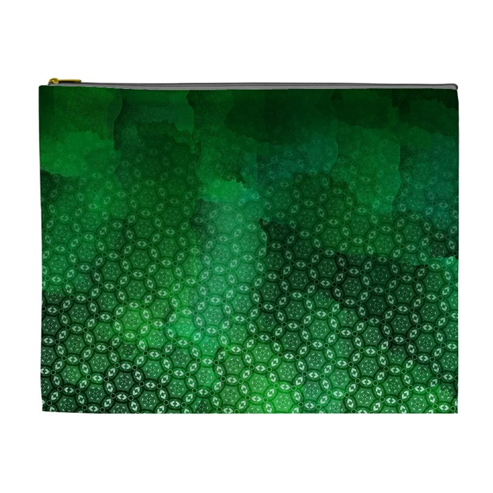 Ombre Green Abstract Forest Cosmetic Bag (XL)