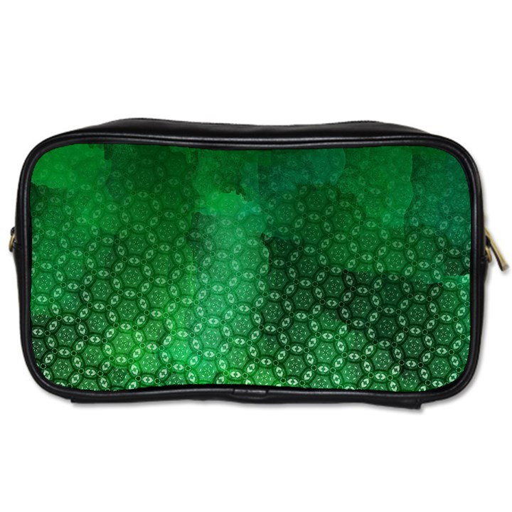 Ombre Green Abstract Forest Toiletries Bags