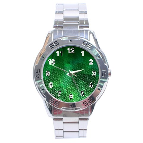 Ombre Green Abstract Forest Stainless Steel Analogue Watch