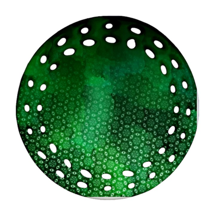 Ombre Green Abstract Forest Round Filigree Ornament (2Side)