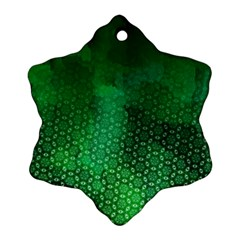 Ombre Green Abstract Forest Snowflake Ornament (2 Side)