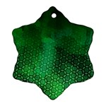 Ombre Green Abstract Forest Snowflake Ornament (2-Side) Front