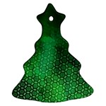 Ombre Green Abstract Forest Christmas Tree Ornament (2 Sides) Front