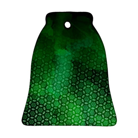 Ombre Green Abstract Forest Bell Ornament (2 Sides)