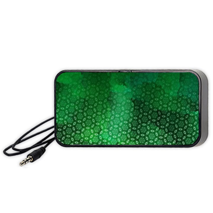 Ombre Green Abstract Forest Portable Speaker (Black)