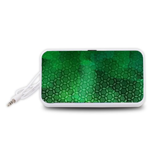 Ombre Green Abstract Forest Portable Speaker (White)