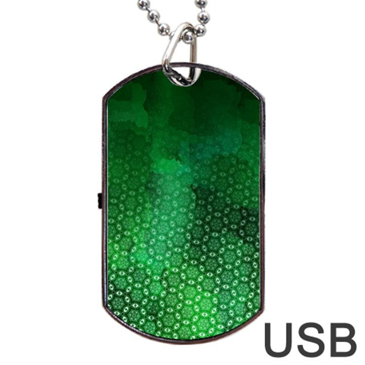 Ombre Green Abstract Forest Dog Tag USB Flash (One Side)