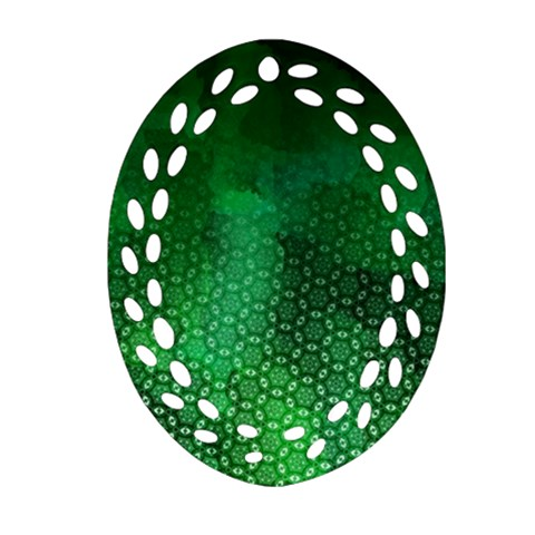 Ombre Green Abstract Forest Ornament (Oval Filigree)