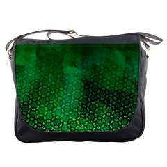 Ombre Green Abstract Forest Messenger Bags