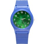 Ombre Green Abstract Forest Round Plastic Sport Watch (S) Front
