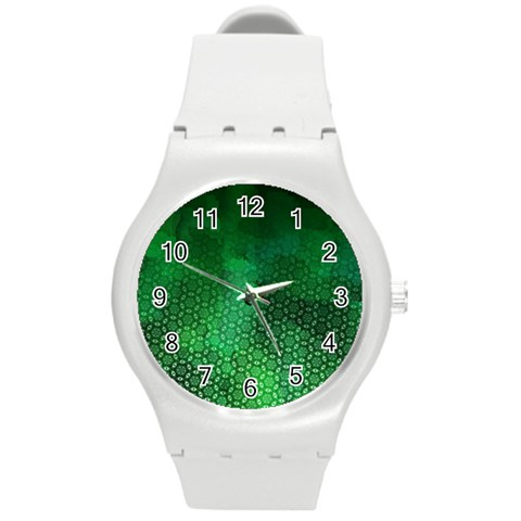 Ombre Green Abstract Forest Round Plastic Sport Watch (M)