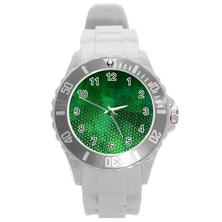 Ombre Green Abstract Forest Round Plastic Sport Watch (L)