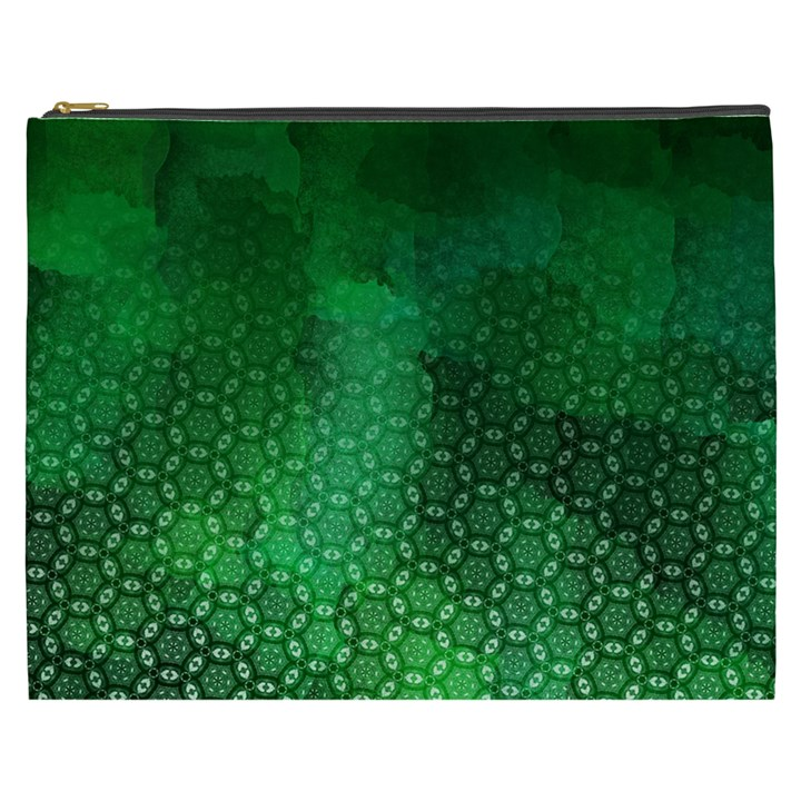 Ombre Green Abstract Forest Cosmetic Bag (XXXL)