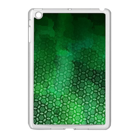 Ombre Green Abstract Forest Apple iPad Mini Case (White)