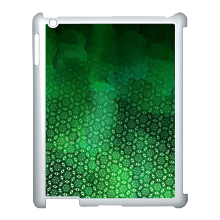 Ombre Green Abstract Forest Apple iPad 3/4 Case (White)