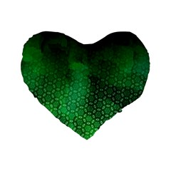 Ombre Green Abstract Forest Standard 16  Premium Heart Shape Cushions