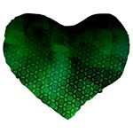 Ombre Green Abstract Forest Large 19  Premium Heart Shape Cushions Front