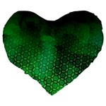Ombre Green Abstract Forest Large 19  Premium Heart Shape Cushions Back