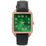 Ombre Green Abstract Forest Rose Gold Leather Watch  Front