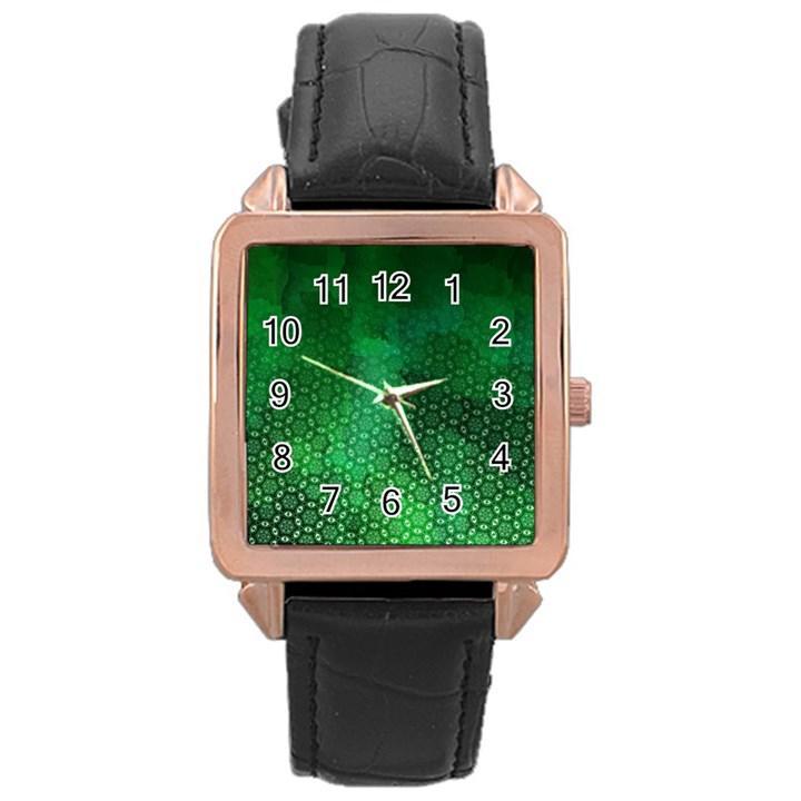Ombre Green Abstract Forest Rose Gold Leather Watch