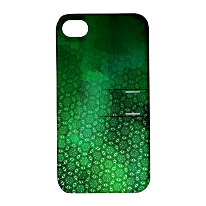 Ombre Green Abstract Forest Apple iPhone 4/4S Hardshell Case with Stand