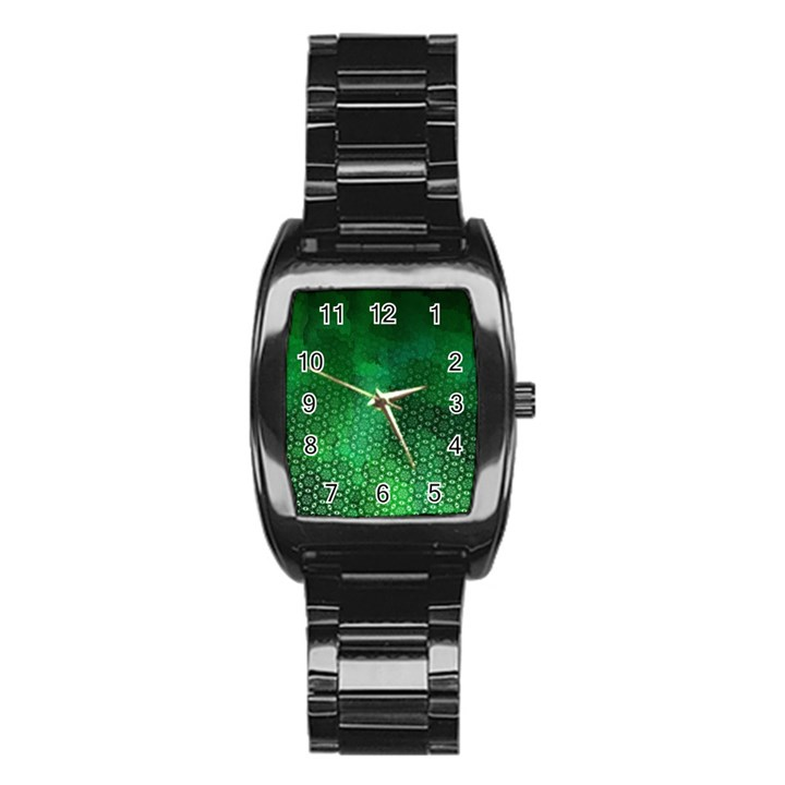 Ombre Green Abstract Forest Stainless Steel Barrel Watch
