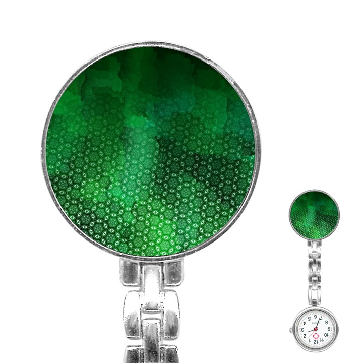 Ombre Green Abstract Forest Stainless Steel Nurses Watch