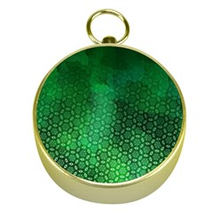 Ombre Green Abstract Forest Gold Compasses