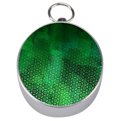 Ombre Green Abstract Forest Silver Compasses