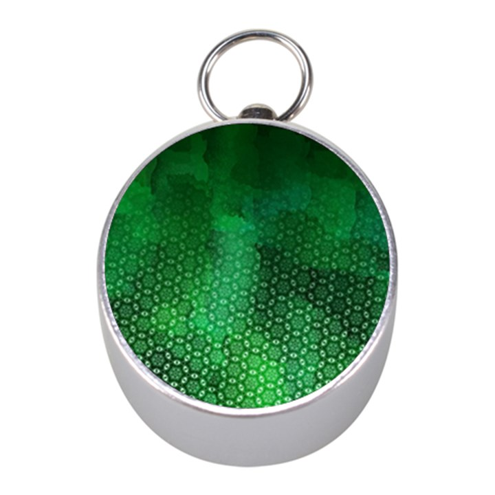 Ombre Green Abstract Forest Mini Silver Compasses