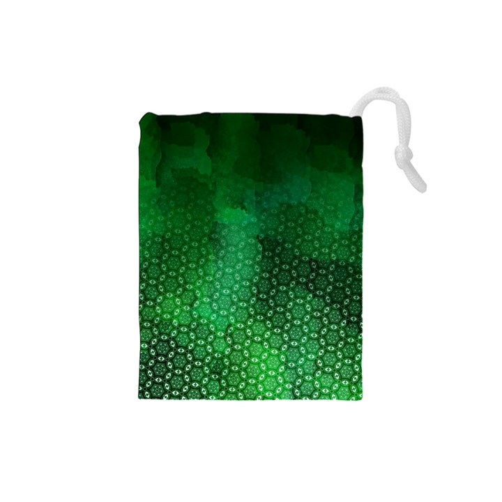 Ombre Green Abstract Forest Drawstring Pouches (Small)