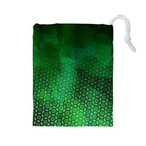 Ombre Green Abstract Forest Drawstring Pouches (Large)