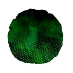 Ombre Green Abstract Forest Standard 15  Premium Flano Round Cushions Back