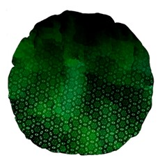 Ombre Green Abstract Forest Large 18  Premium Flano Round Cushions