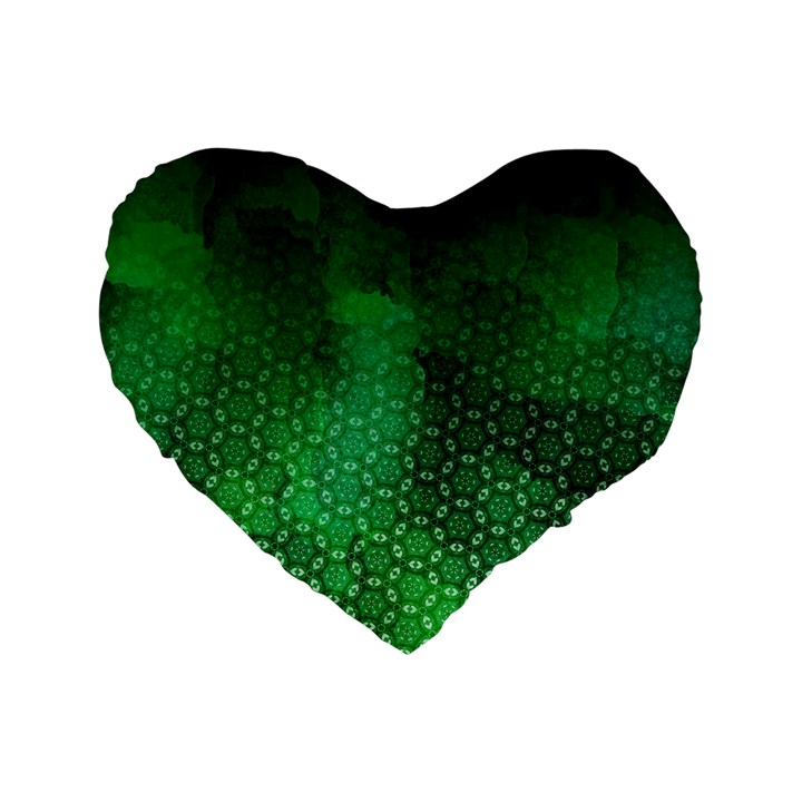 Ombre Green Abstract Forest Standard 16  Premium Flano Heart Shape Cushions
