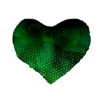 Ombre Green Abstract Forest Standard 16  Premium Flano Heart Shape Cushions Back