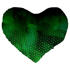 Ombre Green Abstract Forest Large 19  Premium Flano Heart Shape Cushions