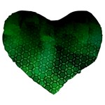 Ombre Green Abstract Forest Large 19  Premium Flano Heart Shape Cushions Front