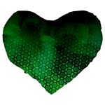 Ombre Green Abstract Forest Large 19  Premium Flano Heart Shape Cushions Back