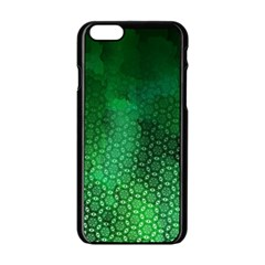 Ombre Green Abstract Forest Apple iPhone 6/6S Black Enamel Case