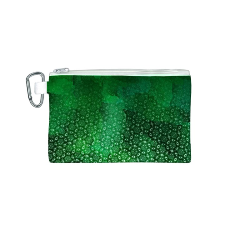 Ombre Green Abstract Forest Canvas Cosmetic Bag (S)