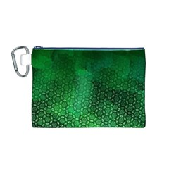 Ombre Green Abstract Forest Canvas Cosmetic Bag (M)