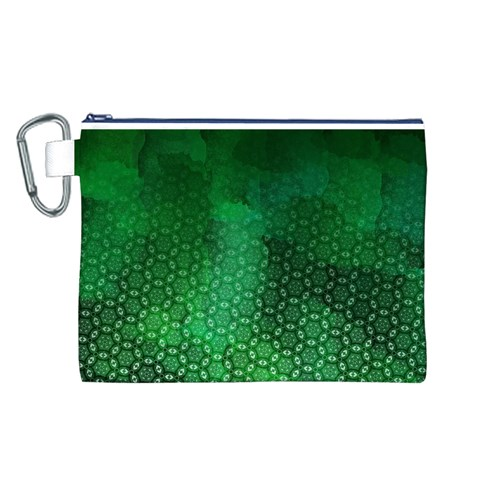Ombre Green Abstract Forest Canvas Cosmetic Bag (L)